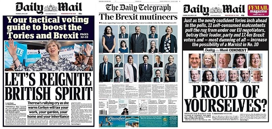 A selection of newpaper headlines about members of Parliament and the Brexit shambles