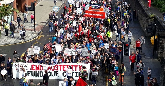 Protest march - people against government austerity cuts
