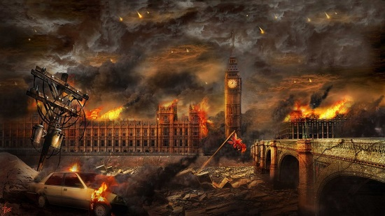 Imaginary scene of devastion in London as society collapses